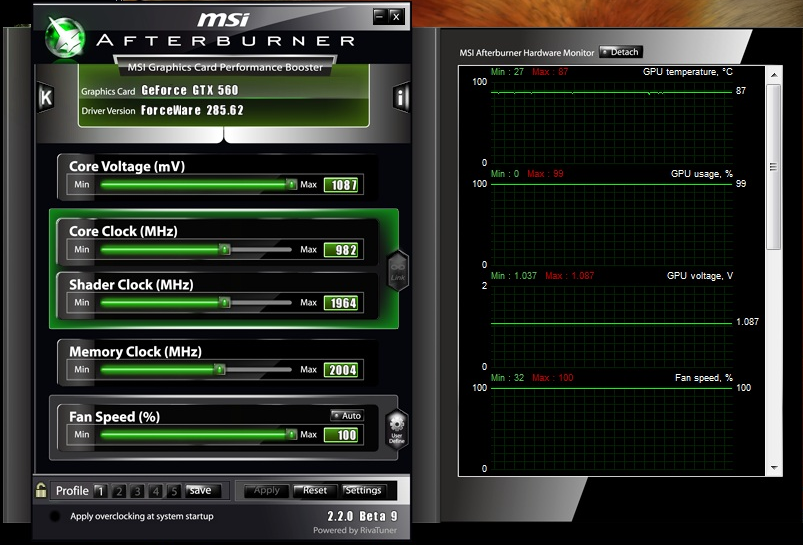 overclock galaxy gtx 560 results afterburner