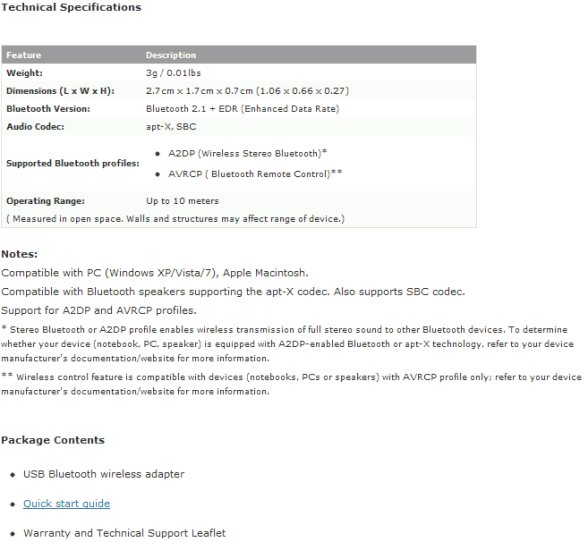 creative bt d1 usb bluetooth adapter specifications