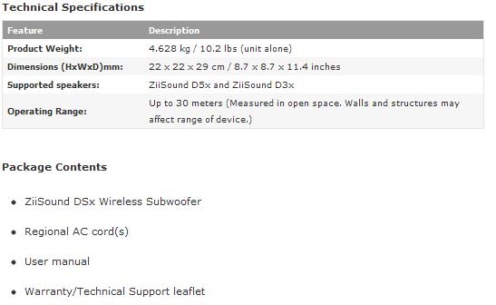 creative ziisound dsx subwoofer specifications
