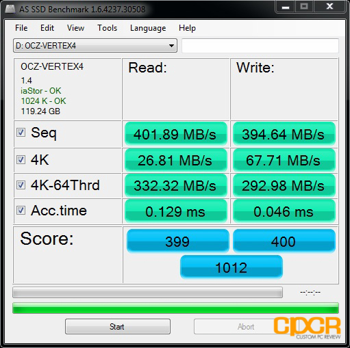 custom pc review ocz vertex 4 128gb ssd as ssd