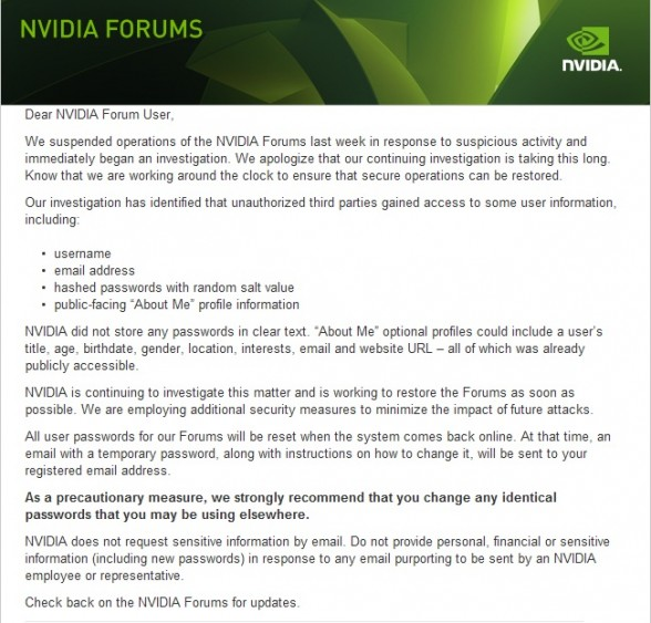 nvidia forums hacked email