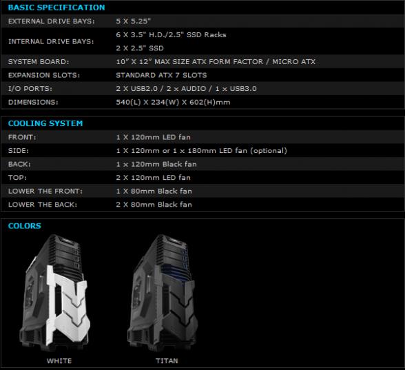 raidmax agusta specifications