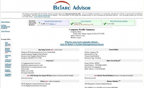belarc advisor screen 1