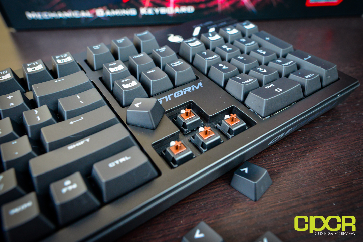 ef484aebe41 Pulling a couple keycaps off here, we can see that Cooler Master is using Cherry  MX ...