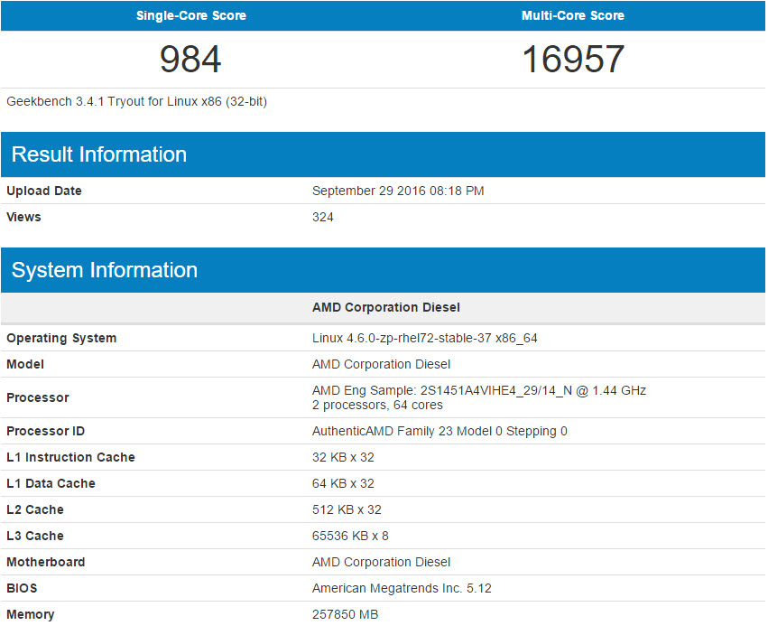 AMD 32-Core Zen Based Naples CPU Benchmarks Leaked in Geekbench