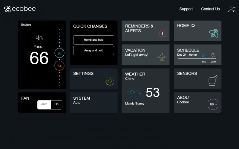 ecobee smart thermostat website screen custom pc review