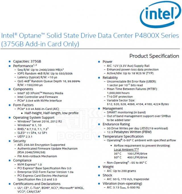 intel p4800x ssd