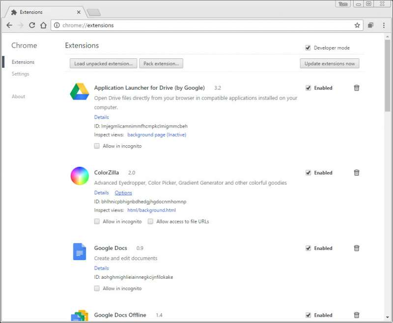 chrome extensions screenshot