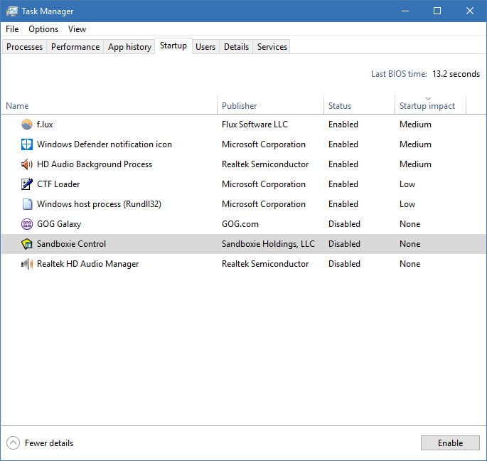 task manager startup items screenshot
