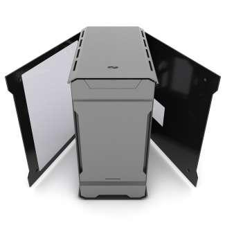 Evolv uATX TG Anthracite Grey Magnets Front top doors open 2k