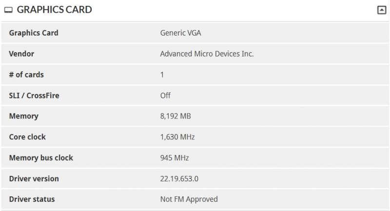 amd vega leaked benchmark spec information screen