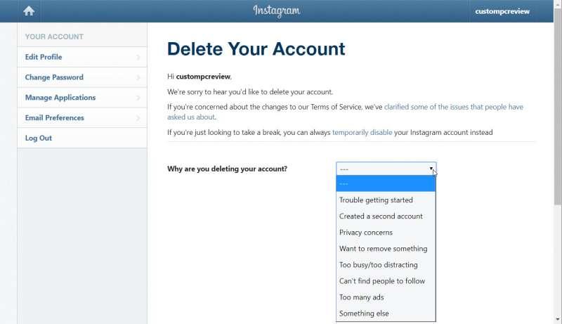 delete instagram account permanently custom pc review 2