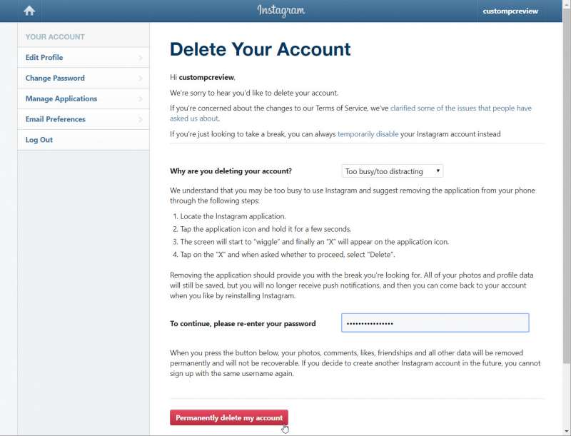 delete instagram account permanently custom pc review 3