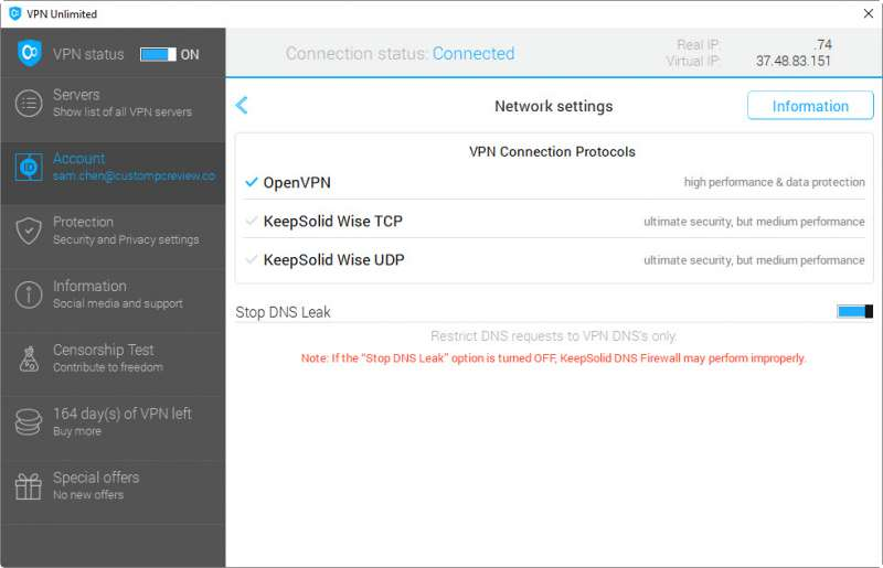 keepsolid vpn unlimited client custom pc review screen 2