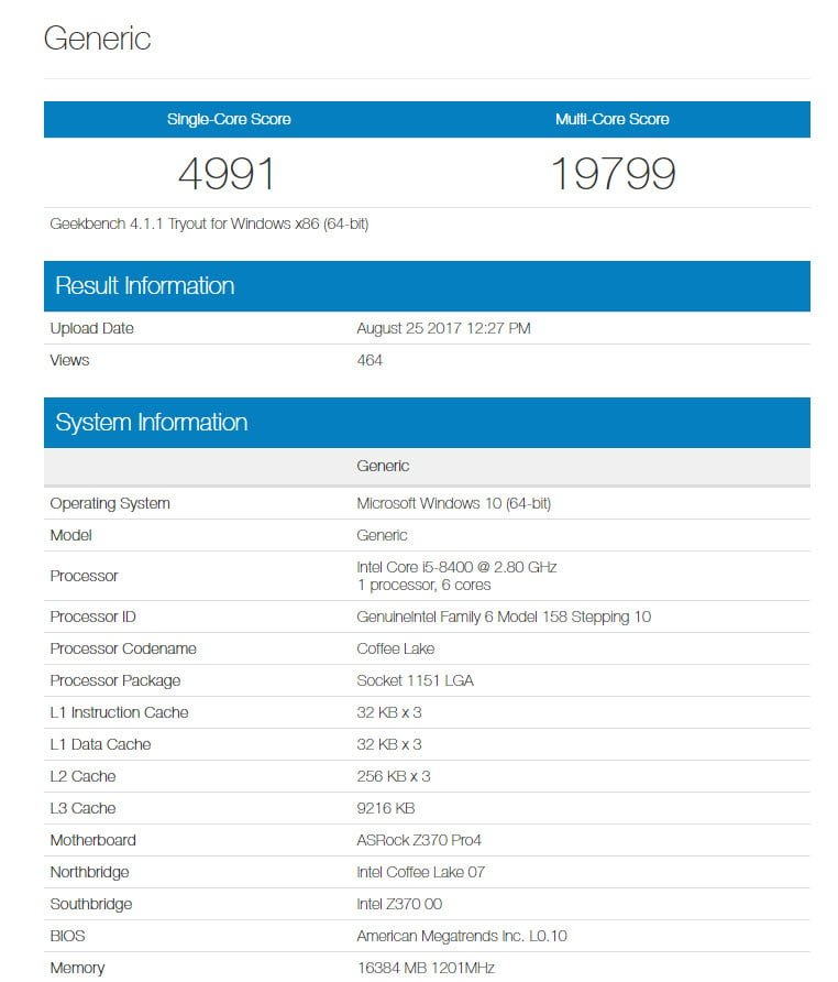 intel coffee lake geekbench 8400