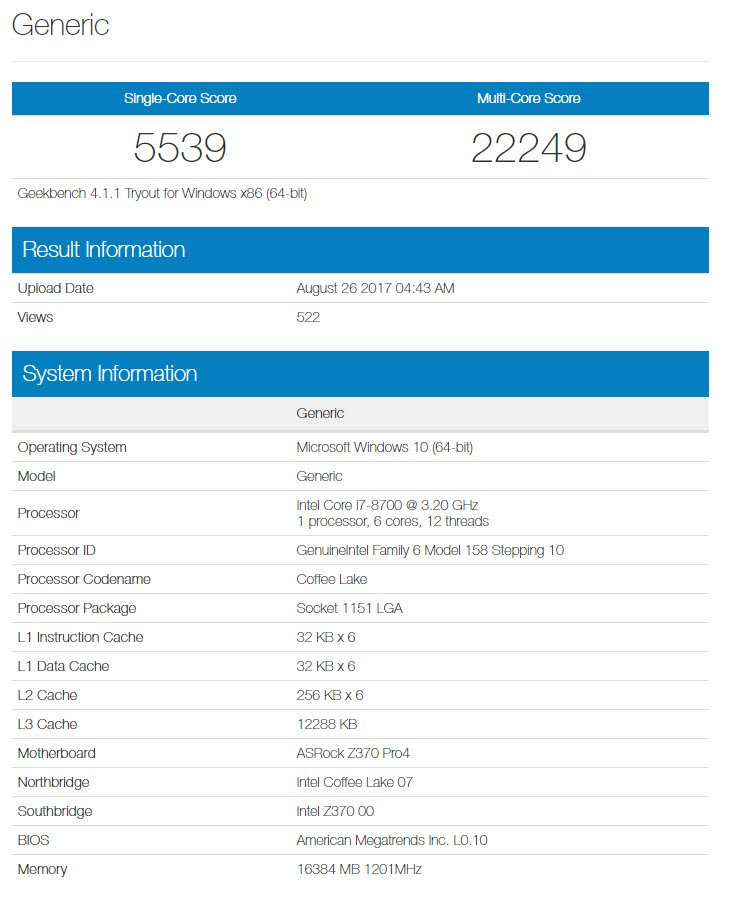 intel coffee lake geekbench 8700