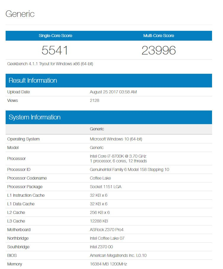 intel coffee lake geekbench 8700k