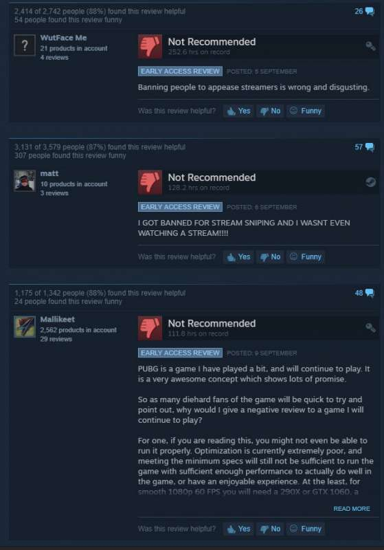 pubg negative reviews