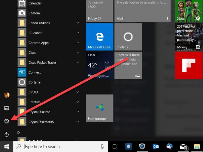 settings menu start bar screenshot 1